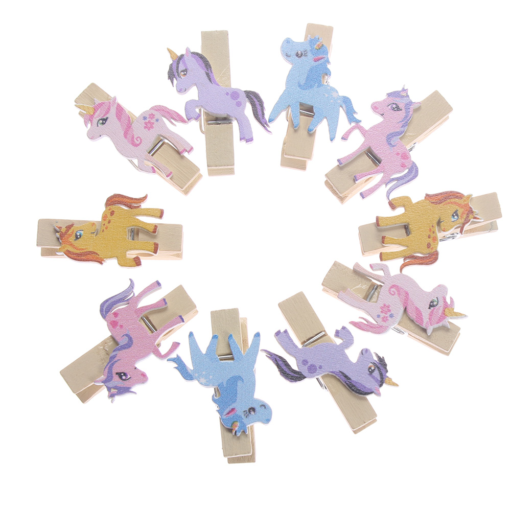 10pcs Unicorn Wooden DIY Photo Clips Handmade Cartoon Unicorn Wood Photo Clips Holder