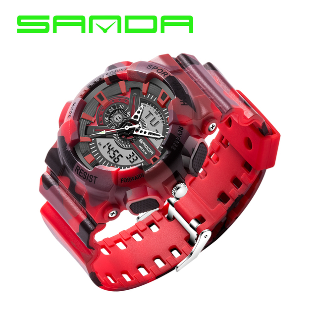 SANDA Sport Watch Men Clock Male LED Digital Quartz Wrist Watches Men's Top Brand Luxury Rubber Digital-watch Relogio Masculino