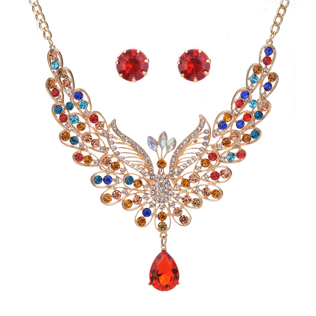 HHYDE Luxury Multicolor Crystal Peacock Pendant Necklace Simple