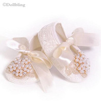 1st Birthday Gift For Princess Little Newborn Girl Lace Pearl Ribbon Bow Christening Soft Soled Handmade