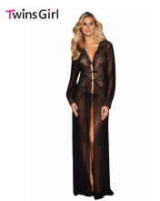 Vintage Dresses Sexy Clubwear Sheer Long Sleeve Lace