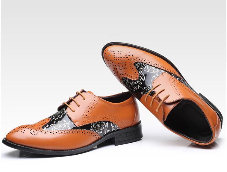 Impresso Sapatos Esculpido Apontados Brogue Couro Elegantes Disso Dedos laranja Genuíno up Vestido Além Estilo Britânico marrom Lace Patchwork Preto Homens Size48 P058fwz8q
