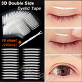 Unique Sharp angled 3D Double Sided Invisible Eyelid Tape Strong Adhesive Eyelid Stickers gift tool 240pcs=10 sheet