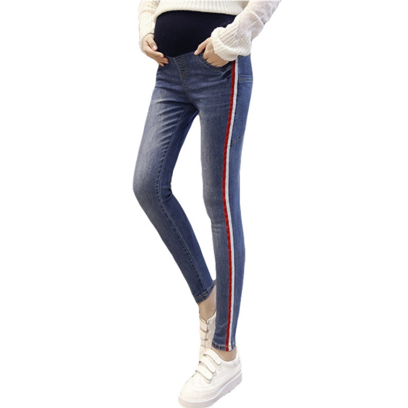 Fashion pregnant woman clothes cotton jeans pregnant women adjustable waist maternity pants premama gravidez pregnant