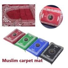 Alfombra de oración de 4 colores, alfombra de oración musulmana con brújula, portátil, duradera, cobija de oración de bolsillo, oración