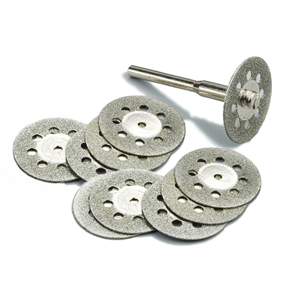 10vnt. 22mm deimantinių pjovimo diskų įrankis, skirtas pjaustyti akmeniu pjaustytus diskinius abrazyvus, pjovimas dremel rotacinių įrankių priedai dremel cutter