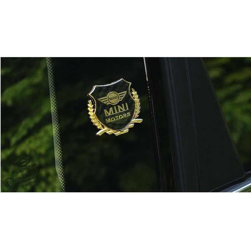 2 pièces/ensemble Mini Coopers R56 R50 R53 F56 F55 R60 R57 voiture autocollant blé pointe en fibre de carbone garniture en plastique avec drapeau travaux assembler Logo