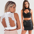Women Lady Lace Bustier Sleeveless Crop Tops Bralette Corsets