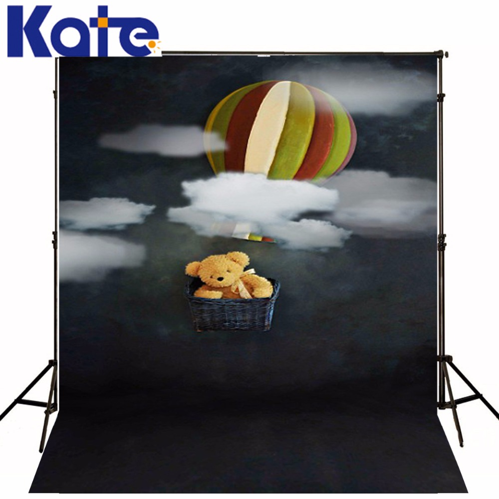 Family Backgrounds Bear Hot Air Balloon Photography Children Black Night Sky White Clound Digital Studio