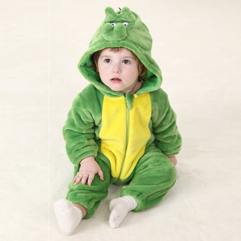 Baby Boy Newborn Romper Autumn Green Infant Halloween Costume Christmas Clothes Girl Warm Clothing Dinosaur Romper baby clothes christmas costume for baby infant party dress tutus newborn jumpsuit bebe romper baby girl clothing halloween gift