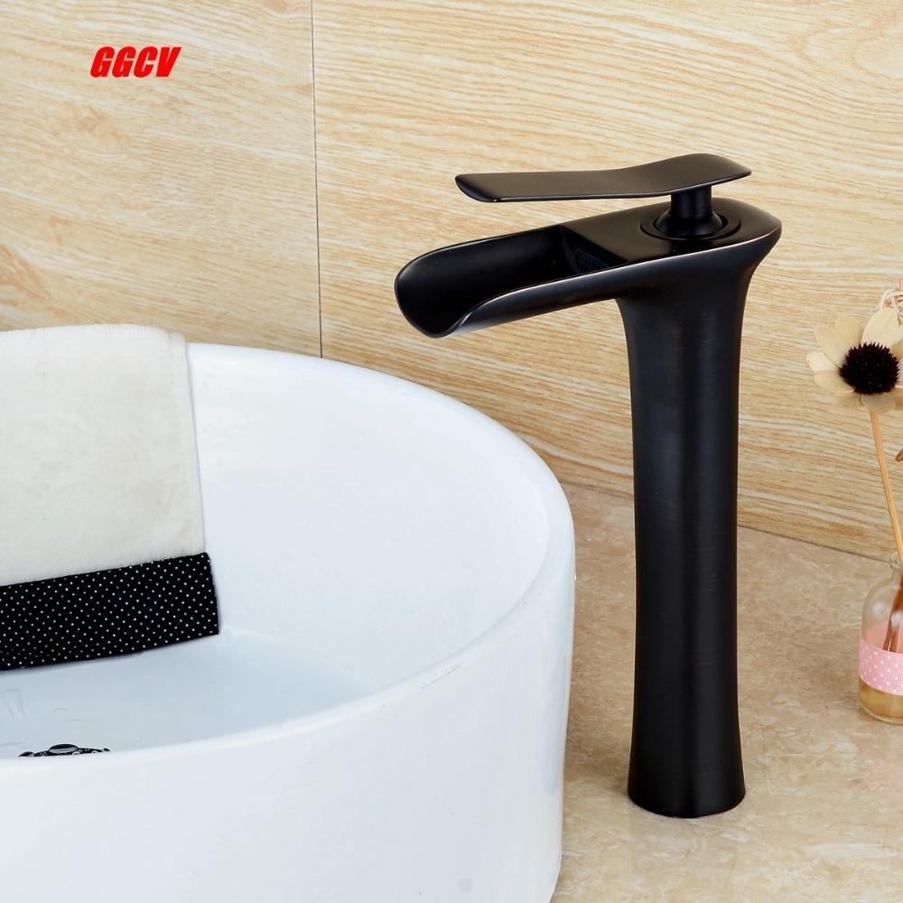 La salle de bain a un noir en laiton chrome robinet avec haute visage bassin cascade, et un mélangeur mélangeur robinet pont installation