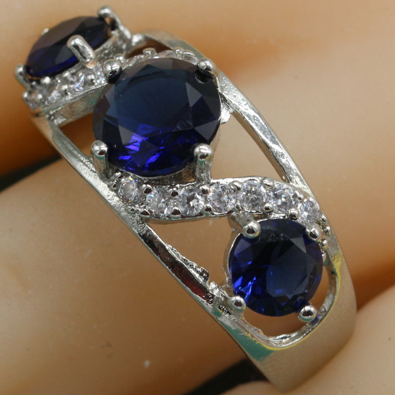 925 Sterling Silver Ring Geometric Blue Semi-precious Stone Ring Rings for Women Deep Green Rings With Zircon Free Jewelry Box