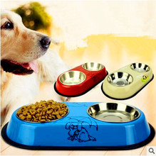 Colorful Stainless Steel Dog Feeding Bowl Cat Puppy Food Dish Pet Drink Water Bowl Non Slip White Red Blue Colors