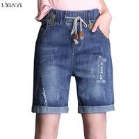 LXUNYI Summer Women Denim Shorts Plus Size Elastic Waist Stretch Cuffs Fashion Holes Jeans Straight Casual Shorts Ripped 26 34