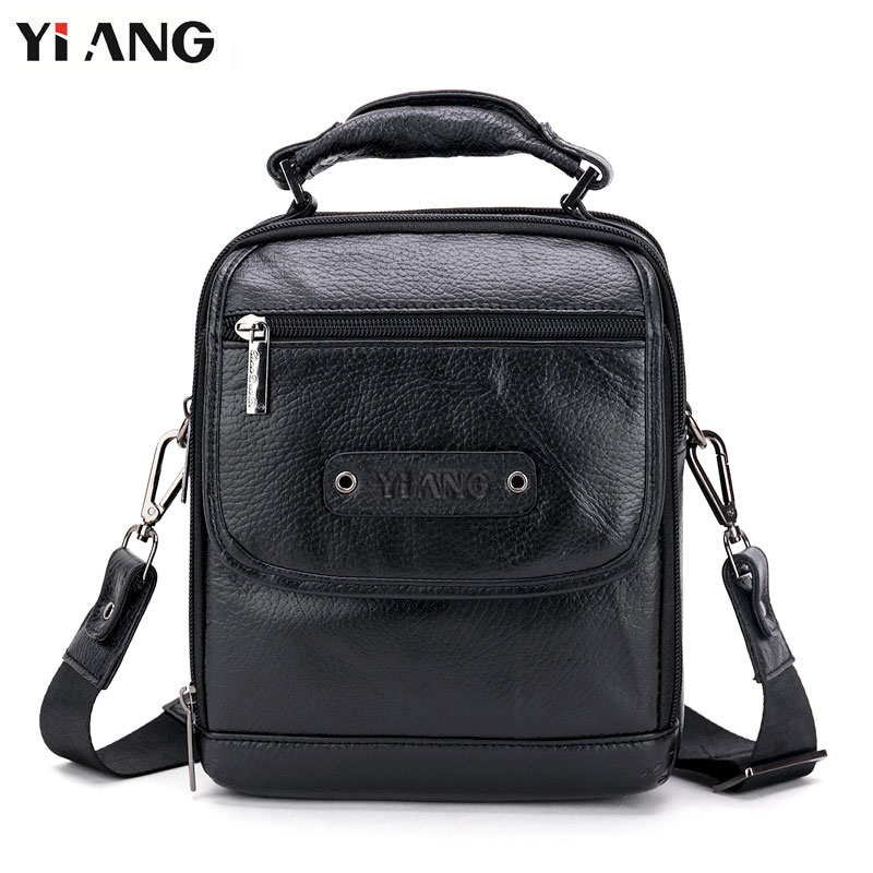 YIANG 2018 New Arrival Fashion Business Leather Men Messenger Bags Small Casual Travel Crossbody Shoulder Bag for Men
