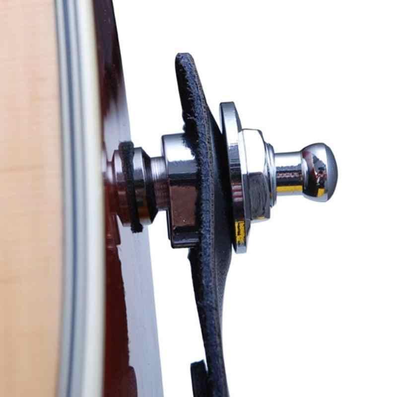 Nowa gitara basowa akcesoria metalowe okrągły chrom głowy gitara pasek antypoślizgowy System zamków części elektryczne