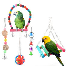 1set Pet Bird Parrot Chew Toys Bird Cage Toys For Parrots Pet Tools Colorful Parrot Toys Suspension Hanging Bridge Chain(China)
