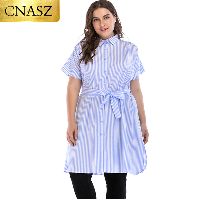 3dce46783f27 Women Plus Size Clothing Tops Mid Knee Length Simple Design Dress Elegant  Stripe Shirt