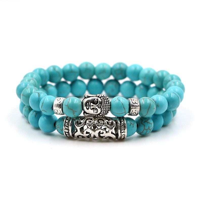 Buddha Natural Stone Beaded Bracelet 2 Pcs Set 2
