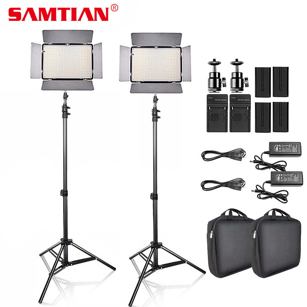 SAMTIAN 2Sets LED Video Photo Studio Light Kit Dimmable 2000Lm 3200-5600K 600pcs led Panel Lamp with Tripod for Video Shooting linkstar 18w 5600k round ultrathin soft daylight led photo video film shooting continuous portable pocket light dimmable rl 18v