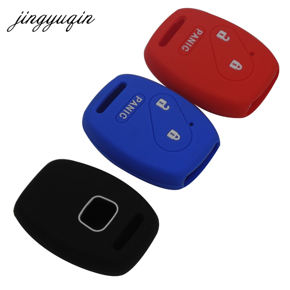 Jingyuqin 30pcs 2+ Panic 3 Buttons Remote Key Case Silicone Cover For Honda Accord Civic Pilot Fit Insight Protecor Holder