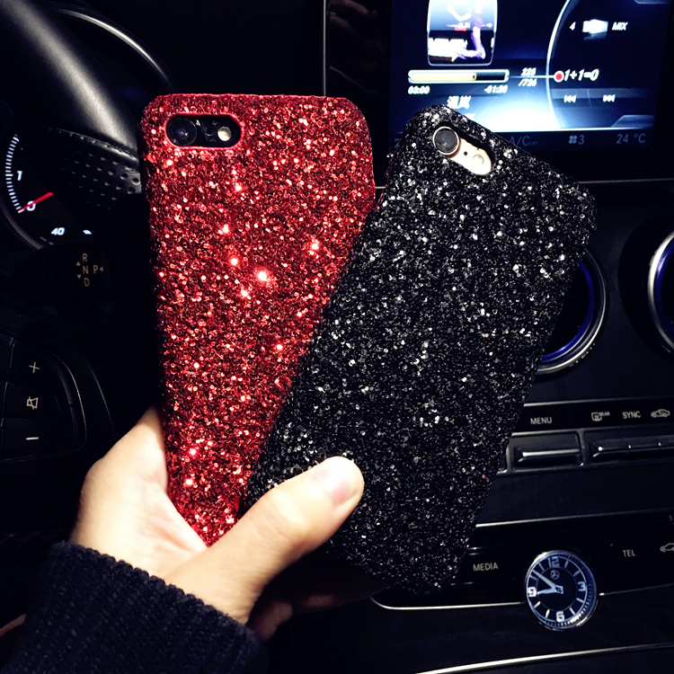 Bling Glitter Soft TPU Silicone Phone Case Cover For Apple Iphone 5S SE 6 6S Plus 7 8 Plus X Sequins Leather Cases