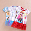 2016 new brand Toddler Girls clothes summer girl dress lace gauze  dress the snow Queen role playing Halloween party costumes