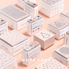 Geometria cubo cilindro números de madeira selo onda dot pinstrip forma scrapbooking diy hobby planejador caderno decoração