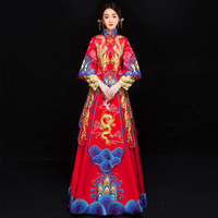 chinese style bride Embroidery cheongsam wedding ceremony Dresses costume evening dress show clothing slim Phoenix Qipao