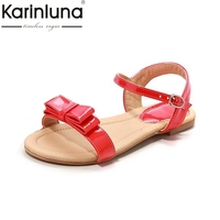 Big Size 33 43 Rome Style Ankle Straps Sandals Fashion Sweet Bowtie Summer Shoes Flats Open