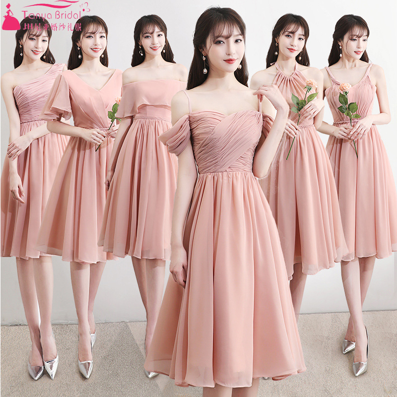 Blush Chiffon   Bridesmaid     Dresses   6 Style Knee Length Wedding Guest Gowns Formal Party Gowns cheap ZB083
