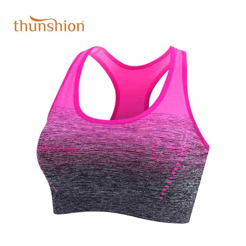 THUNSHION Sport Bh Hohe Stretch Atmungsaktiv Top Fitness Frauen Padded für Jogging Yoga Gym Nahtlose Crop Bh Gradient Sport Bh