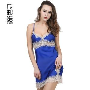 2017 Women Sexy Silk Satin Nightgown Sleeveless Nighties V-neck Night Gown Sleep Dress Embroidery Night Wear Soft Sleep Wear