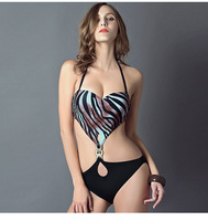 Fashion Sexy Hollow Piece Swimsuit Black Zebra Stripes With A Chest Pad Without Steel Prop Swimwear Free Shipping