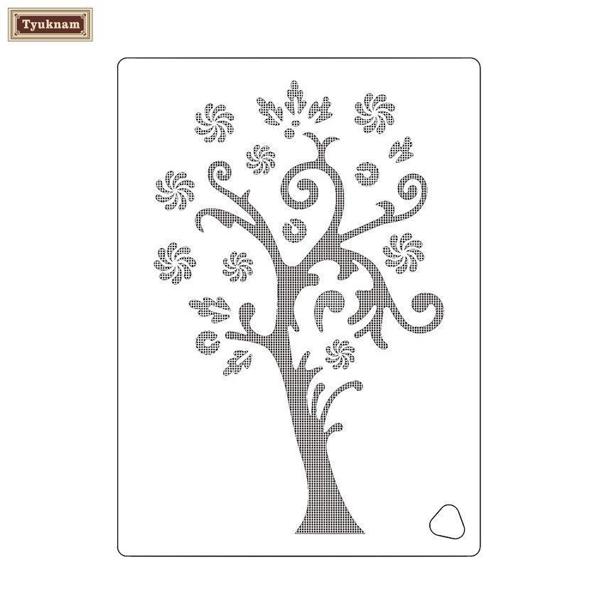 Snow Flower Happy Tree Design Stencil for Wedding Cake