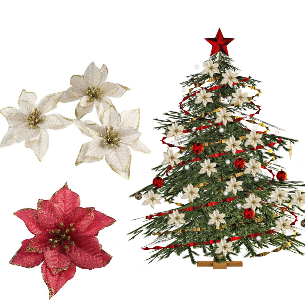 ourwarm 20pcs red glitter poinsettia christmas tree ornaments artificial christmas tree decorations event party supplies in artificial dried flowers from