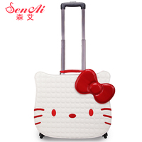 Hellokitty universal wheels trolley luggage travel bag suitcase child luggage,18inch lovely children hello kitty travel bags