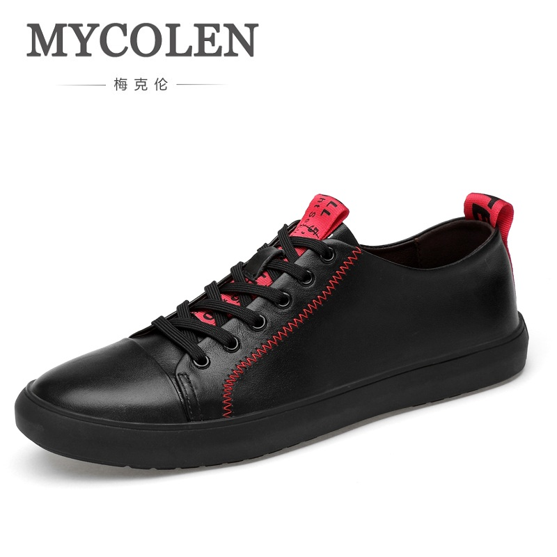 MYCOLEN Spring/Autumn New Casual Genuine Leather Shoes Mens Lace-Up Shoes Simple Stylish Personality Shoes Zapatos Hombre stylish lace up straight slim jacket