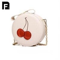 Leather Handbag Messenger Bag Women Shoulder Bag Circle Sweet Bags Girls Small Cross Body Bag