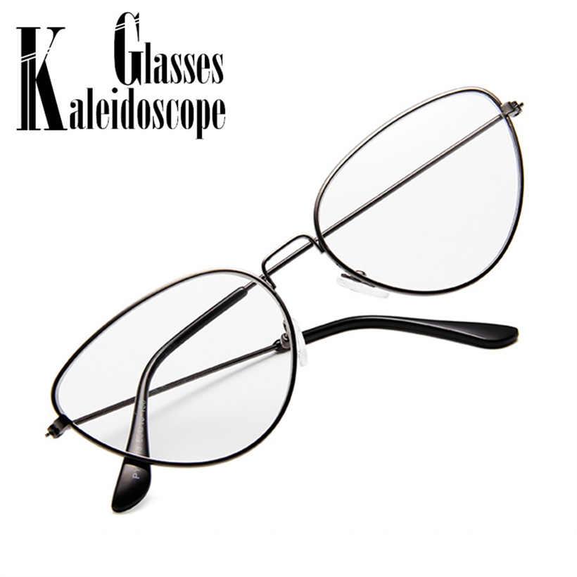 289f3f30446 Clear Lens Cat Eye Glasses Frame Women Men Metal Frame Glasses Brand Designer  Optical Glasses Retro