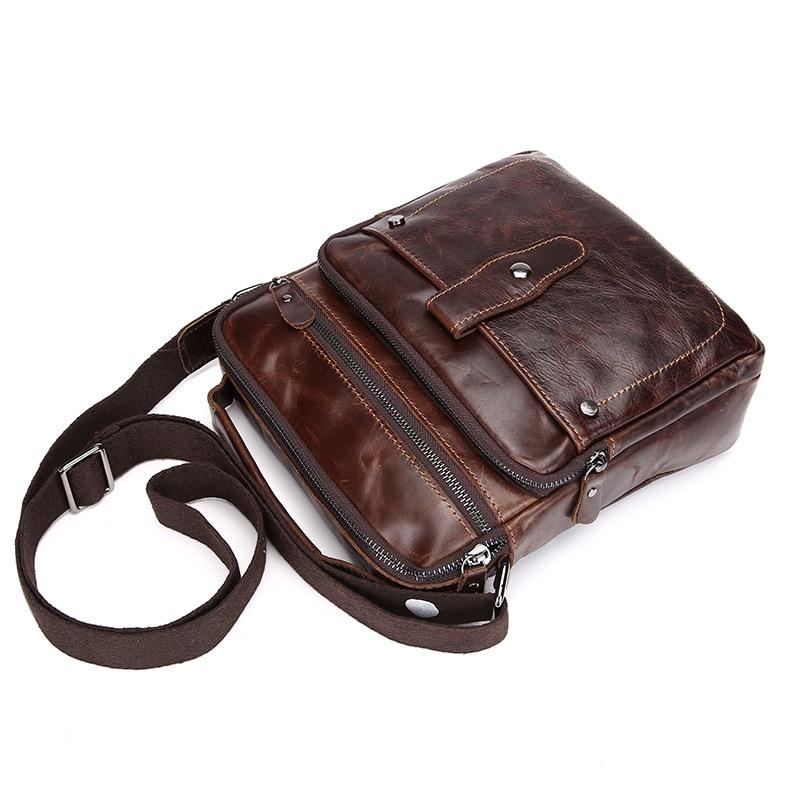 Single Messenger Cross Body Business Bags New Designer Weave Wrinkle Travel Vintage Genuine Oil Wax Leather Men Shoulder Bag Home