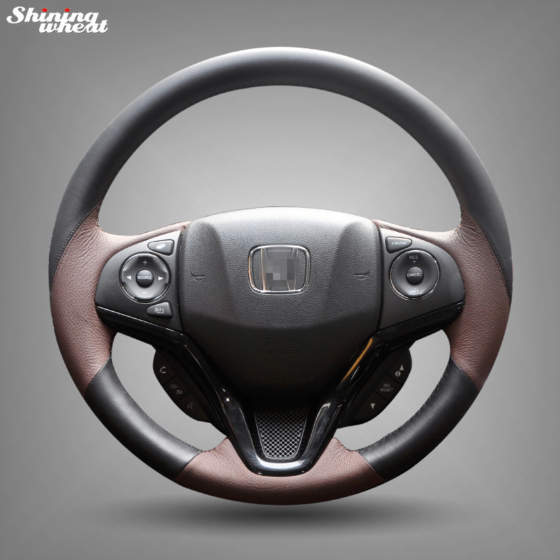 Shining Wheat Black Brown Leather Steering Wheel Cover For