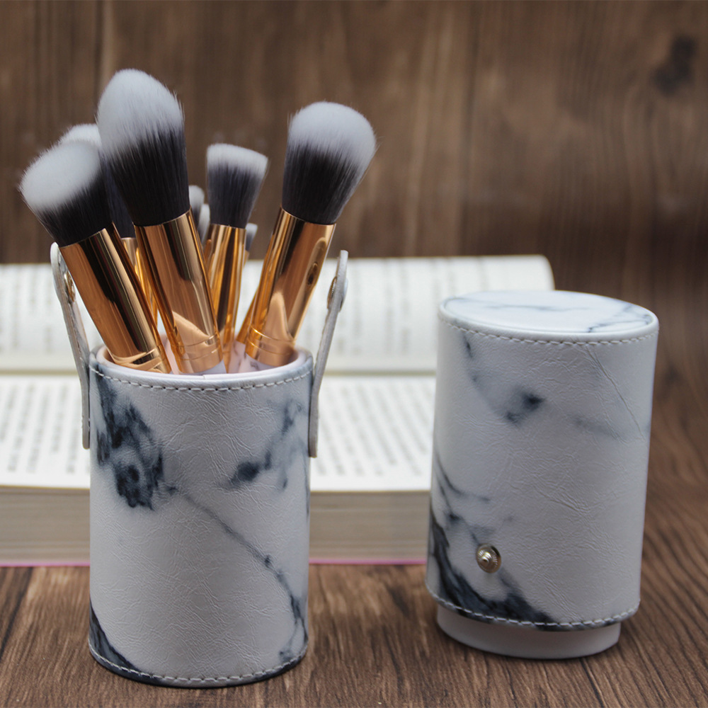 6/10pcs pro marble Makeup Brushes set, Marbling Handle Eye Shadow Eyebrow Lip Eye Make Up Brush Comestic Tools with holder