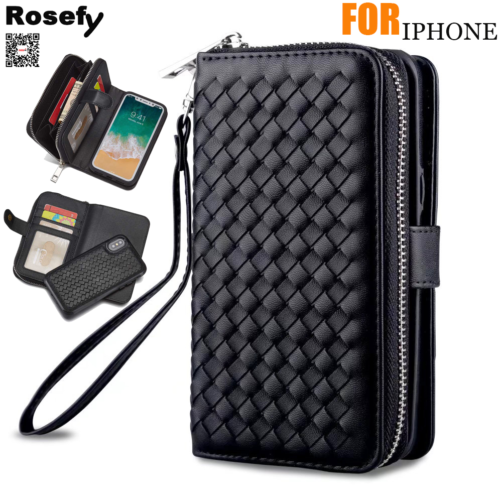 ROSEFY Case For iPhone 6s 7 8 Plus Xs Max Zipper Removable Wallet Bag Woven Leather Case Cover For iphone 11Pro Max