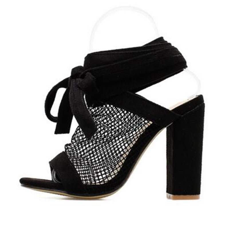 Las Encaje Bombas Malla Toe Transpirable De Mujeres Zapatos Mujer A Sandalias Verano Tacones Peep Alto Casual Negro buybea Tacón YxnzZAWB