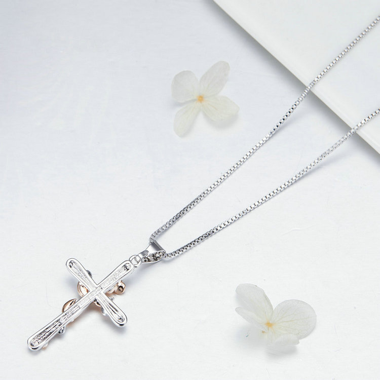 Natural Flower Plant Cross Pendant Chain Necklace