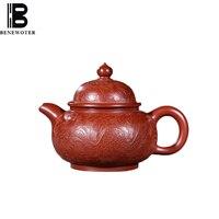 230ml Yixing Authentic Zi Sha Pot Da Hong Pao Mud Purple Clay Pot Handmade Carving Dragon Phoenix Pattern Teapot Kung Fu Tea Set