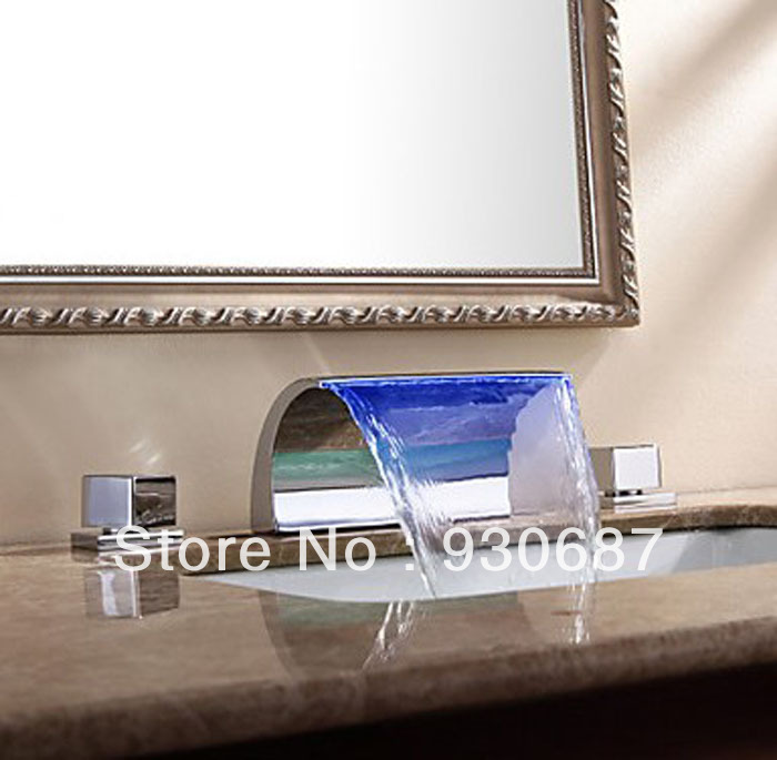 Modern Arcuate Spout Waterfall LED Bathroom Sink Faucet Dual Handle Centerset Mixer Tap
