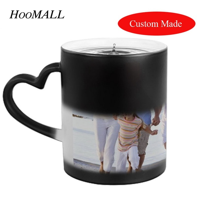 hoomall customized mugs cups photos letters magic color changing coffee mugs diy gifts funny cup for