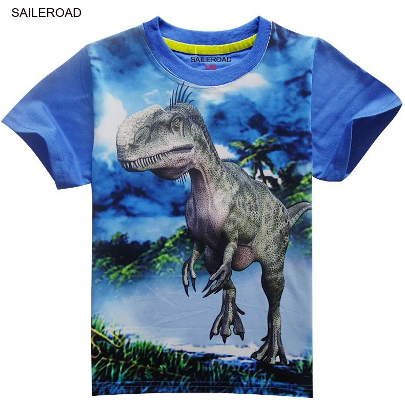 4-11Years Old Children Kids Shorts Tops Tees T Shirt Summer Teenager Boys Girls T-Shirt For Dinosaur Summer Shirts SAILEROAD 5